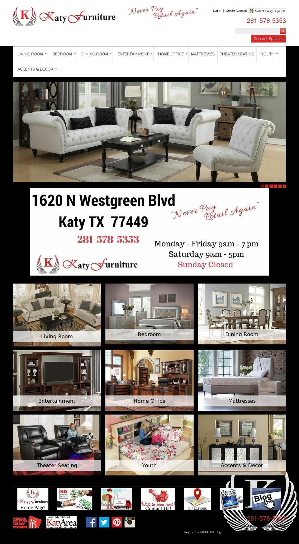 1 Websites Use The Katy Furniture   Megatronic Theme Shopify Theme.  Katyfurniture.com